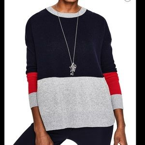 Relaxed Colorblock Wool Cashmere Blend Sweater